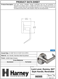 Product Data Specification Sheet Of A Commercial Door Lever Inactive / Dummy Function, UL Fire Rated, ANSI 2, Vigilant Collection - Satin Chrome Finish - Product Number 86505