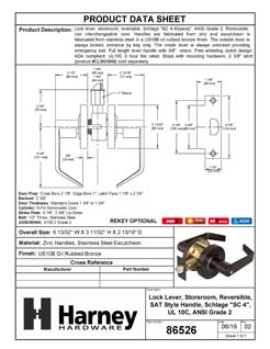 Product Data Specification Sheet Of A Vigilant Commercial Door Lever Set, Storeroom / Keyed Function, UL Fire Rated, ANSI 2 - Oil Rubbed Bronze Finish - Product Number 86526