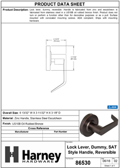 Product Data Specification Sheet Of A Vigilant Commercial Door Lever Set, Dummy / Inactive Function - Oil Rubbed Bronze Finish - Product Number 86530