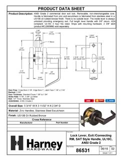 Product Data Specification Sheet Of A Vigilant Commercial Door Lever Set, Exit / Connecting Room Function, UL Fire Rated, ANSI 2 - Oil Rubbed Bronze Finish - Product Number 86531