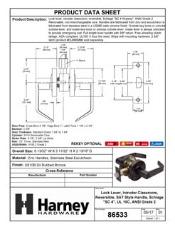 Product Data Specification Sheet Of A Vigilant Commercial Door Lever Set, Intruder Classroom / Keyed Function, UL Fire Rated, ANSI 2 - Oil Rubbed Bronze Finish - Product Number 86533