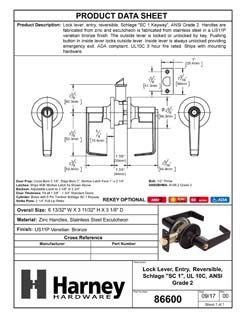 Product Data Specification Sheet Of A Atlas Light Duty Commercial Door Lever Set Entry / Keyed Function, UL Fire Rated, ANSI 2 - Venetian Bronze Finish - Product Number 86600