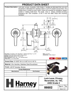 Product Data Specification Sheet Of A Atlas Light Duty Commercial Door Lever Set Privacy / Bathroom Function, UL Fire Rated, ANSI 2 - Venetian Bronze Finish - Product Number 86602