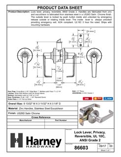 Product Data Specification Sheet Of A Atlas Light Duty Commercial Door Lever Set Privacy / Bathroom Function, UL Fire Rated, ANSI 2 - Satin Chrome Finish - Product Number 86603
