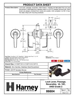 Product Data Specification Sheet Of A Atlas Light Duty Commercial Door Lever Set Passage / Hallway Function, UL Fire Rated, ANSI 2 - Venetian Bronze Finish - Product Number 86604