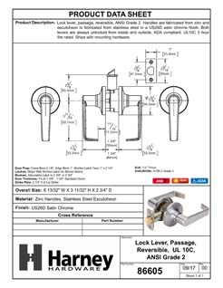 Product Data Specification Sheet Of A Atlas Light Duty Commercial Door Lever Set Passage / Hallway Function, UL Fire Rated, ANSI 2 - Satin Chrome Finish - Product Number 86605