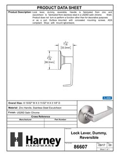 Product Data Specification Sheet Of A Atlas Light Duty Commercial Door Lever Set Dummy / Inactive Function - Satin Chrome Finish - Product Number 86607