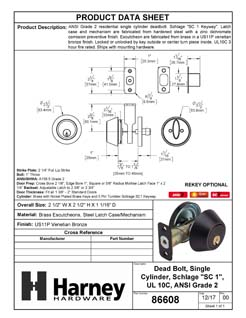 Product Data Specification Sheet Of A Commercial Deadbolt Single Cylinder, UL Fire Rated, ANSI 2, Atlas Collection - Venetian Bronze Finish - Product Number 86608