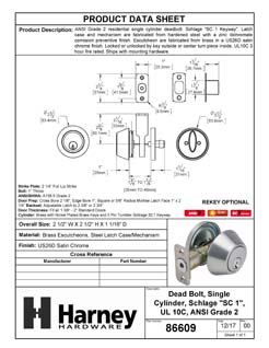 Product Data Specification Sheet Of A Atlas Light Duty Commercial Deadbolt, Single Cylinder, UL Fire Rated, ANSI 2 - Satin Chrome Finish - Product Number 86609