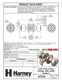 Product Data Specification Sheet Of A Callista Keyed / Entry Door Knob Set - Satin Nickel Finish - Product Number 87316