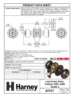 Product Data Specification Sheet Of A Callista Keyed / Entry Door Knob Set - Venetian Bronze Finish - Product Number 87317