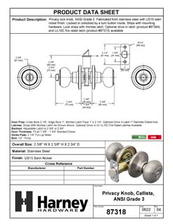 Product Data Specification Sheet Of A Callista Bed / Bath / Privacy Door Knob Set - Satin Nickel Finish - Product Number 87318