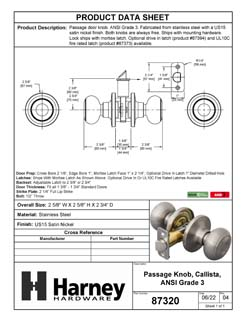 Product Data Specification Sheet Of A Callista Closet / Hall / Passage Door Knob Set - Satin Nickel Finish - Product Number 87320