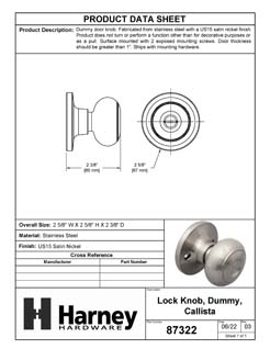 Product Data Specification Sheet Of A Callista Inactive / Dummy Door Knob - Satin Nickel Finish - Product Number 87322