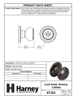 Product Data Specification Sheet Of A Callista Inactive / Dummy Door Knob - Venetian Bronze Finish - Product Number 87323