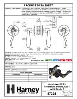 Product Data Specification Sheet Of A Dakota Keyed / Entry Door Lever Set - Venetian Bronze Finish - Product Number 87325
