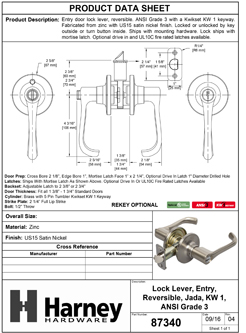 Product Data Specification Sheet Of A Jada Keyed / Entry Door Lever Set - Satin Nickel Finish - Product Number 87340