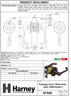 Product Data Specification Sheet Of A Jada Closet / Hall / Passage Door Lever Set - Venetian Bronze Finish - Product Number 87345