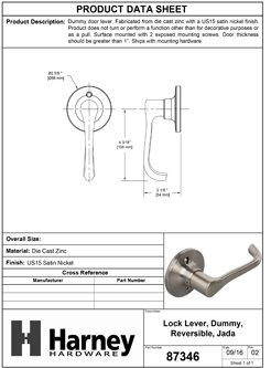Product Data Specification Sheet Of A Jada Inactive / Dummy Door Lever - Satin Nickel Finish - Product Number 87346