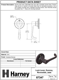 Product Data Specification Sheet Of A Jada Inactive / Dummy Door Lever - Venetian Bronze Finish - Product Number 87347