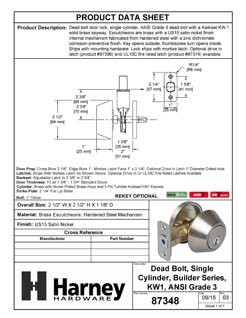 Product Data Specification Sheet Of A Keyed Single Cylinder Deadbolt - Satin Nickel Finish - Product Number 87348