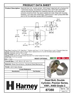 Product Data Specification Sheet Of A Keyed Double Cylinder Deadbolt - Satin Nickel Finish - Product Number 87350