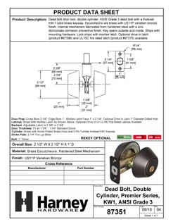 Product Data Specification Sheet Of A Keyed Double Cylinder Deadbolt - Venetian Bronze Finish - Product Number 87351