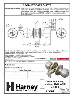 Product Data Specification Sheet Of A Addison Keyed / Entry Door Knob Set - Satin Nickel Finish - Product Number 87352