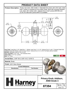 Product Data Specification Sheet Of A Addison Bed / Bath / Privacy Door Knob Set - Satin Nickel Finish - Product Number 87354