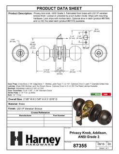 Product Data Specification Sheet Of A Addison Bed / Bath / Privacy Door Knob Set - Venetian Bronze Finish - Product Number 87355
