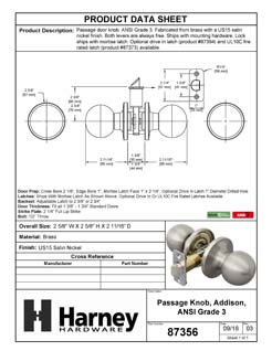 Product Data Specification Sheet Of A Addison Closet / Hall / Passage Door Knob Set - Satin Nickel Finish - Product Number 87356