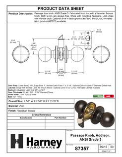 Product Data Specification Sheet Of A Addison Closet / Hall / Passage Door Knob Set - Venetian Bronze Finish - Product Number 87357