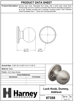 Product Data Specification Sheet Of A Addison Inactive / Dummy Door Knob - Satin Nickel Finish - Product Number 87358
