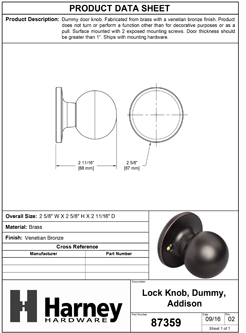 Product Data Specification Sheet Of A Addison Inactive / Dummy Door Knob - Venetian Bronze Finish - Product Number 87359