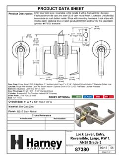 Product Data Specification Sheet Of A Largo Keyed / Entry Door Lever Set - Satin Nickel Finish - Product Number 87380