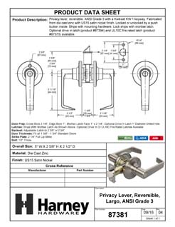 Product Data Specification Sheet Of A Largo Bed / Bath / Privacy Door Lever Set - Satin Nickel Finish - Product Number 87381