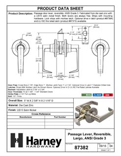 Product Data Specification Sheet Of A Largo Closet / Hall / Passage Door Lever Set - Satin Nickel Finish - Product Number 87382