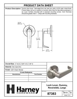 Product Data Specification Sheet Of A Largo Inactive / Dummy Door Lever - Satin Nickel Finish - Product Number 87383