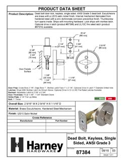 Product Data Specification Sheet Of A Single Sided Keyless Deadbolt - Satin Nickel Finish - Product Number 87384
