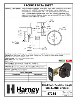 Product Data Specification Sheet Of A Single Sided Keyless Deadbolt - Venetian Bronze Finish - Product Number 87385