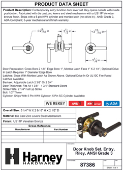 Product Data Specification Sheet Of A Riley Keyed / Entry Contemporary Door Lever Set - Venetian Bronze Finish - Product Number 87386