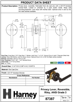 Product Data Specification Sheet Of A Riley Bed / Bath / Privacy Contemporary Door Lever Set - Venetian Bronze Finish - Product Number 87387