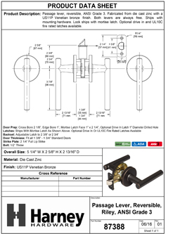 Product Data Specification Sheet Of A Riley Closet / Hall / Passage Contemporary Door Lever Set - Venetian Bronze Finish - Product Number 87388