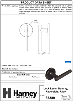 Product Data Specification Sheet Of A Riley Inactive / Dummy Contemporary Door Lever - Venetian Bronze Finish - Product Number 87389