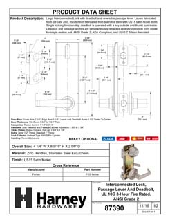 Product Data Specification Sheet Of A Largo Interconnected Lock, Reversible Passage Lever, UL Fire Rated, ANSI 2 - Satin Nickel Finish - Product Number 87390