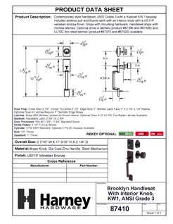 Product Data Specification Sheet Of A Brooklyn Contemporary Handleset With Interior Door Knob - Venetian Bronze Finish - Product Number 87410