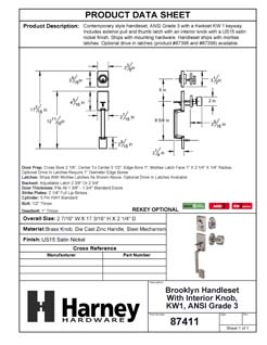 Product Data Specification Sheet Of A Brooklyn Contemporary Handleset With Interior Door Knob - Satin Nickel Finish - Product Number 87411