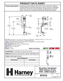 Product Data Specification Sheet Of A Brooklyn Contemporary Handleset With Interior Door Knob - Chrome Finish - Product Number 87412