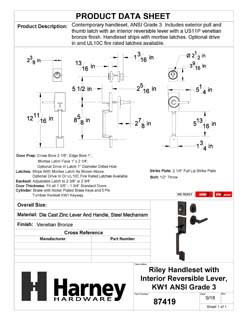 Product Data Specification Sheet Of A Riley Handleset With Interior Reversible Lever - Venetian Bronze Finish - Product Number 87419