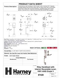 Product Data Specification Sheet Of A Front Door Handleset With Interior Reversible Lever Contemporary Style Riley Collection - Satin Nickel Finish - Product Number 87420